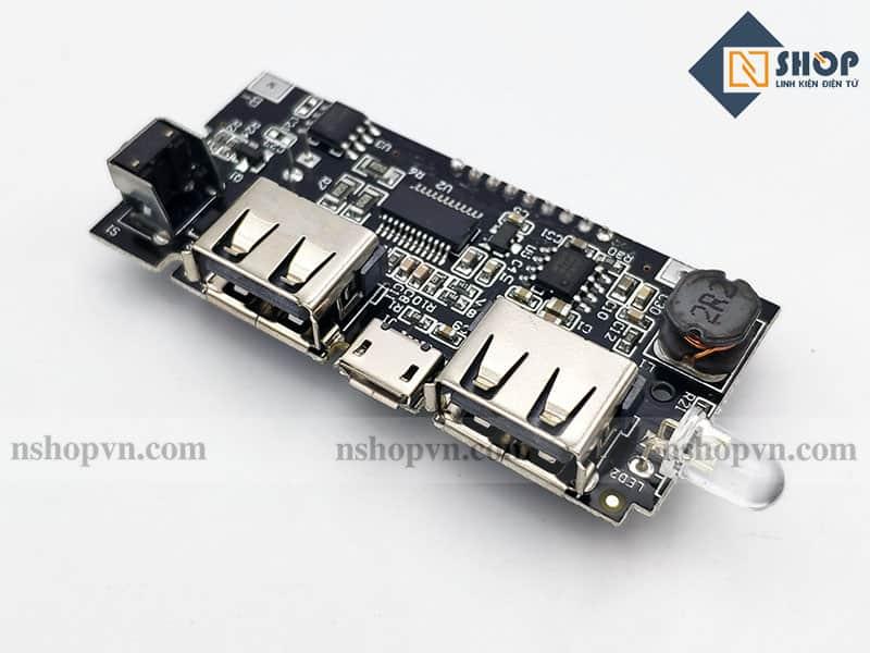 Mạch Sạc Pin Dự Phòng 2 Cổng USB Tích Hợp LCD
