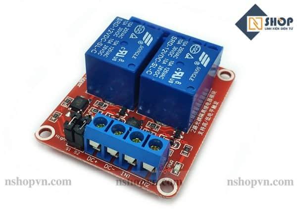 Module 2 Relay Với Opto Cách Ly Kích H/L (12VDC)