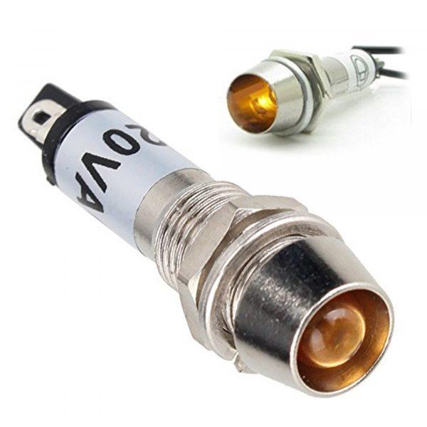 Đèn báo kim loại 12V 8mm màu vàng