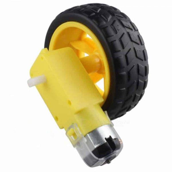 Động cơ giảm tốc vàng kèm bánh xe