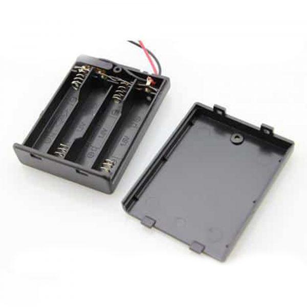 Hộp đế 4 pin AA có nắp và công tắc