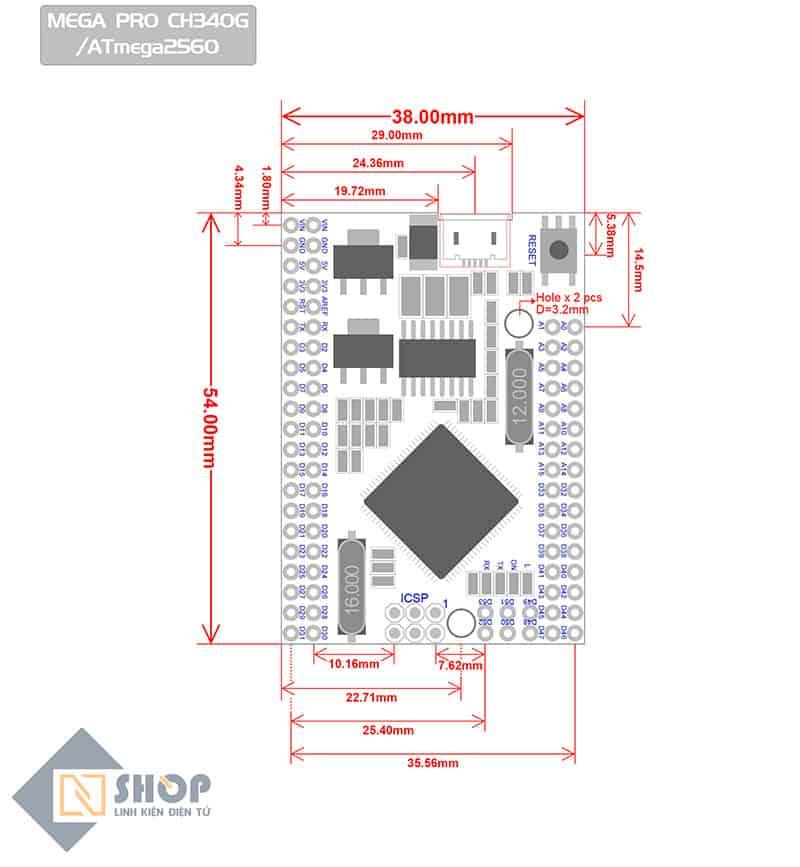Arduino Mega 2560 Pro (Embed)