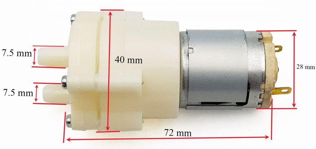 Kích thước của Động cơ bơm 365 12VDC lưu lượng 3 lít / phút