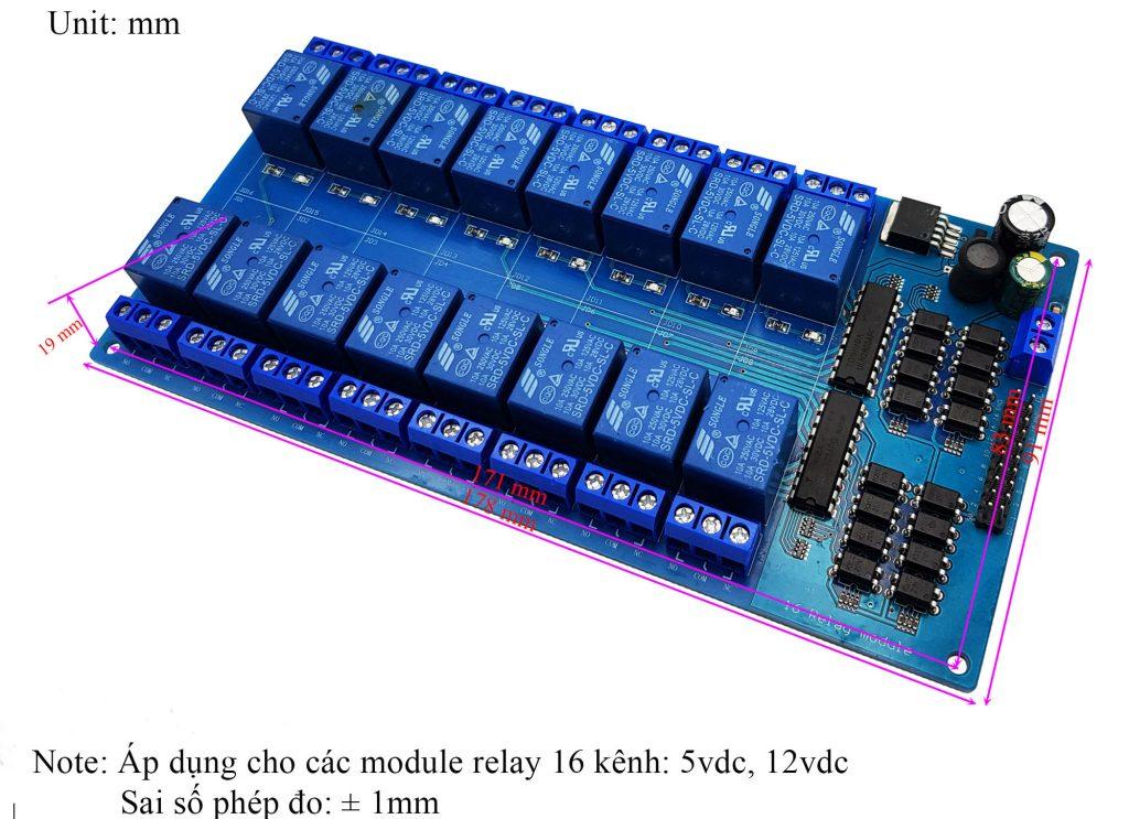 Kích thước của Module 16 Relay Với Opto Cách Ly (5VDC)