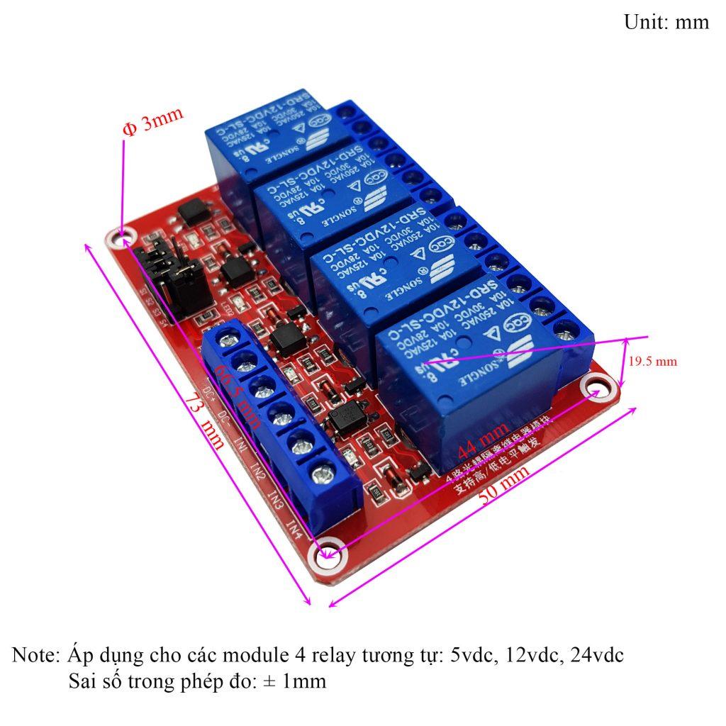 Kích thước của Module 4 Relay Kích H/L