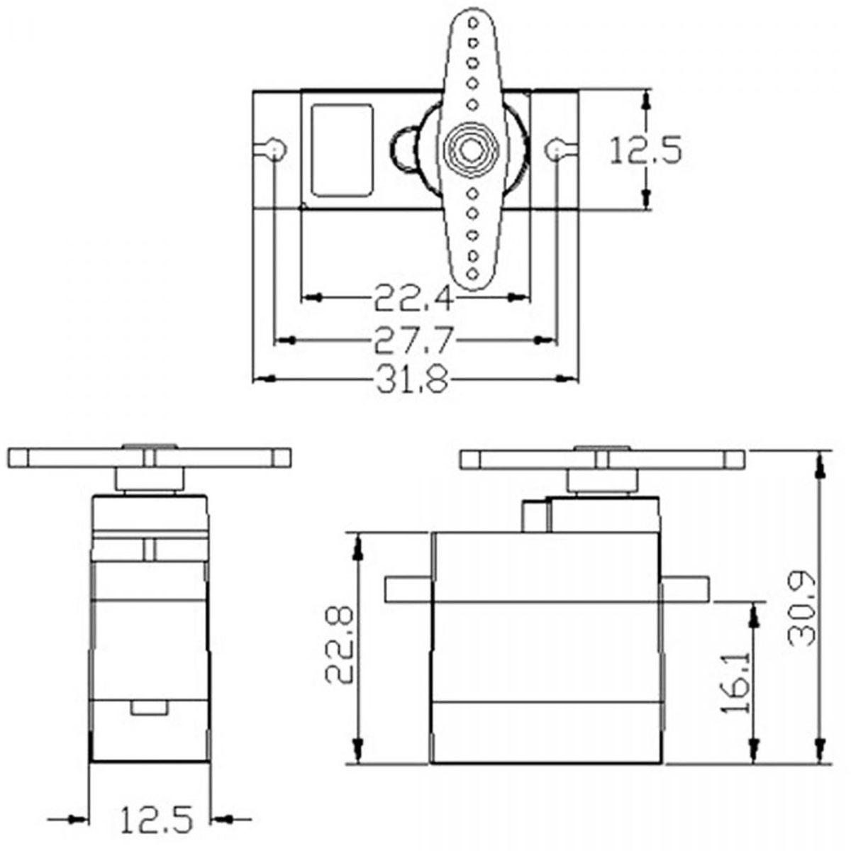 Kích thước Động cơ servo SG90 180 độ