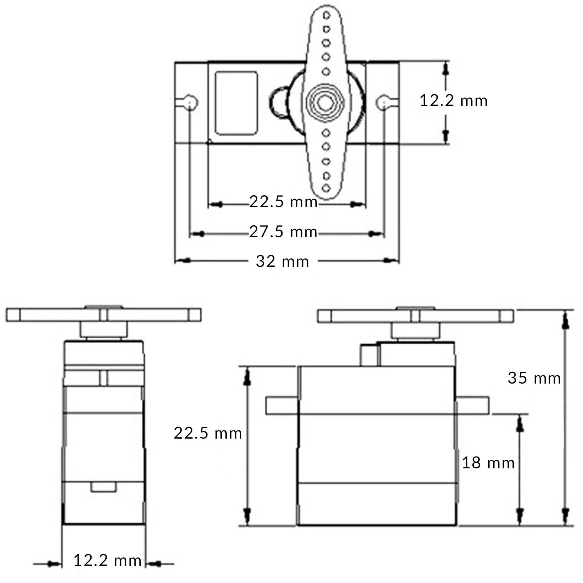 Kích thước Servo MG90S (Bánh răng kim loại)