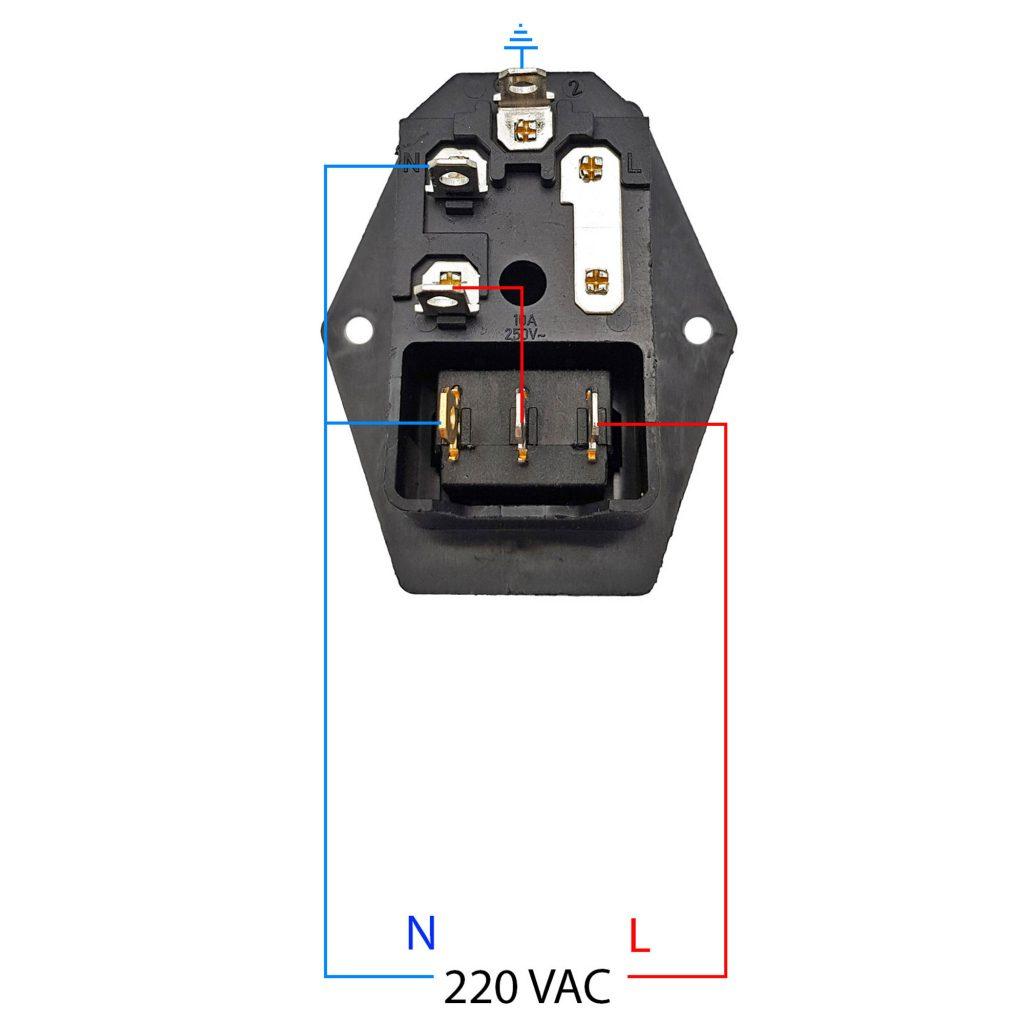 Sở đồ đấu dây Ổ cắm dây nguồn 220V tích hợp công tắc và cầu chì