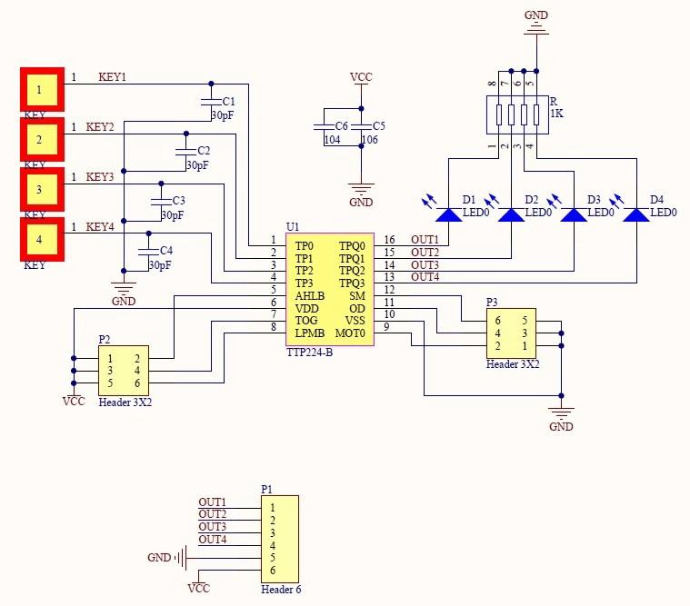 Bàn Phím Cảm Ứng Điện Dung 4 kênh TTP224