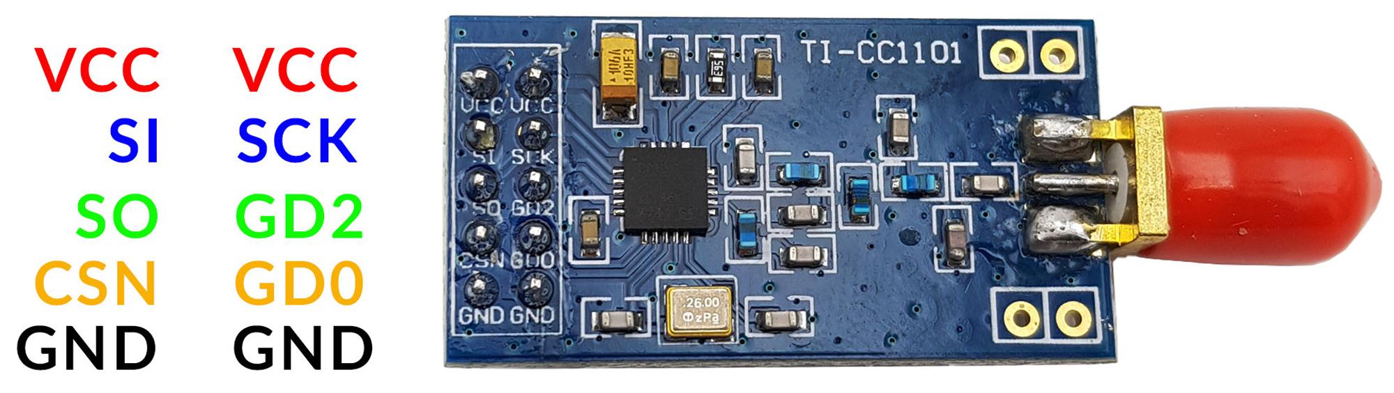 Sơ đồ chân Module Thu Phát RF CC1101 + Antenna