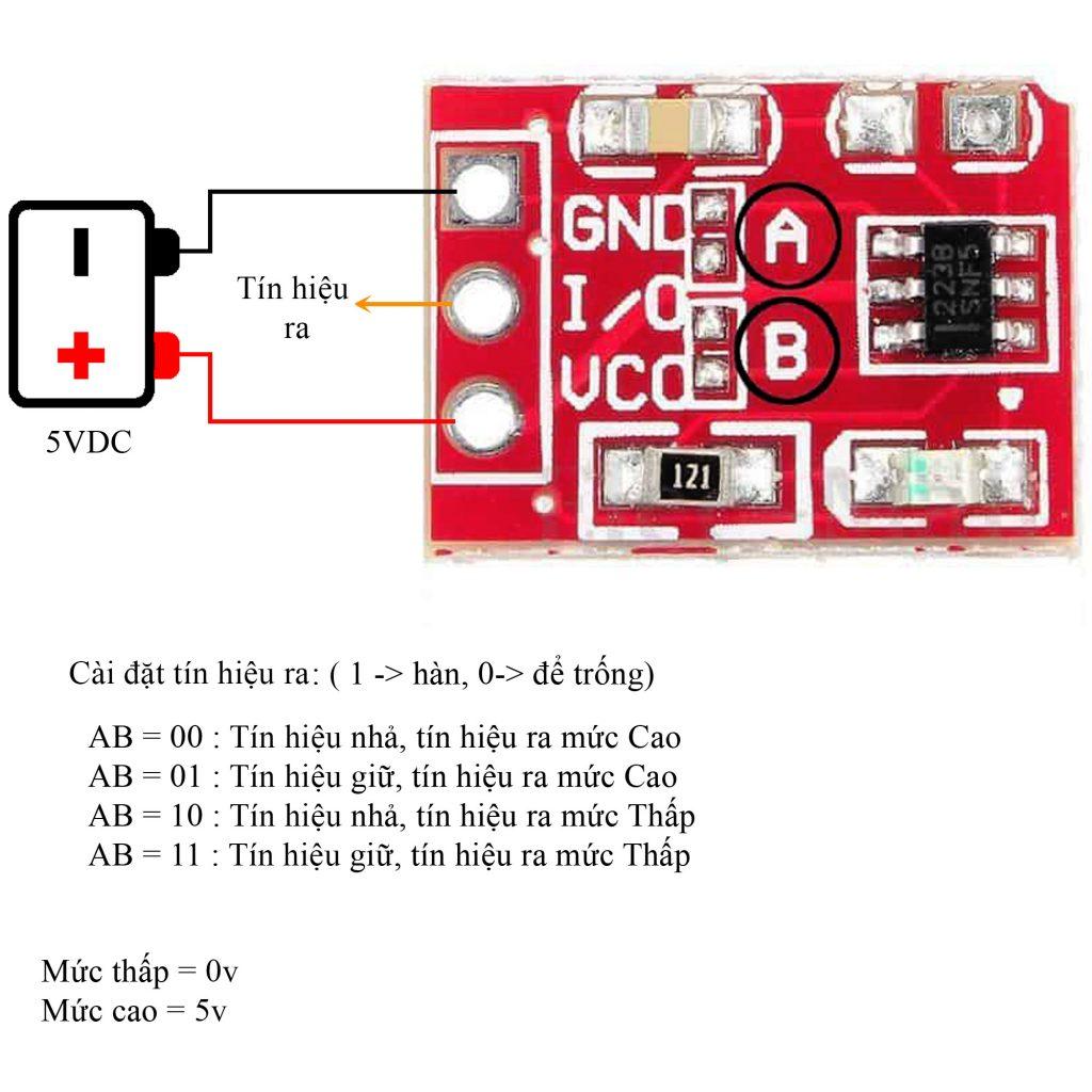 Sơ đồ đấu nối Cảm Ứng 1 Chạm Điện Dung TTP223B Mini