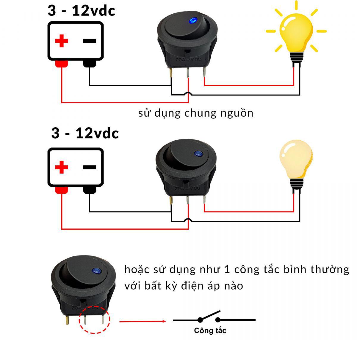Sơ đồ đấu nối Công tắc bập bênh tròn có đèn KCD2-202