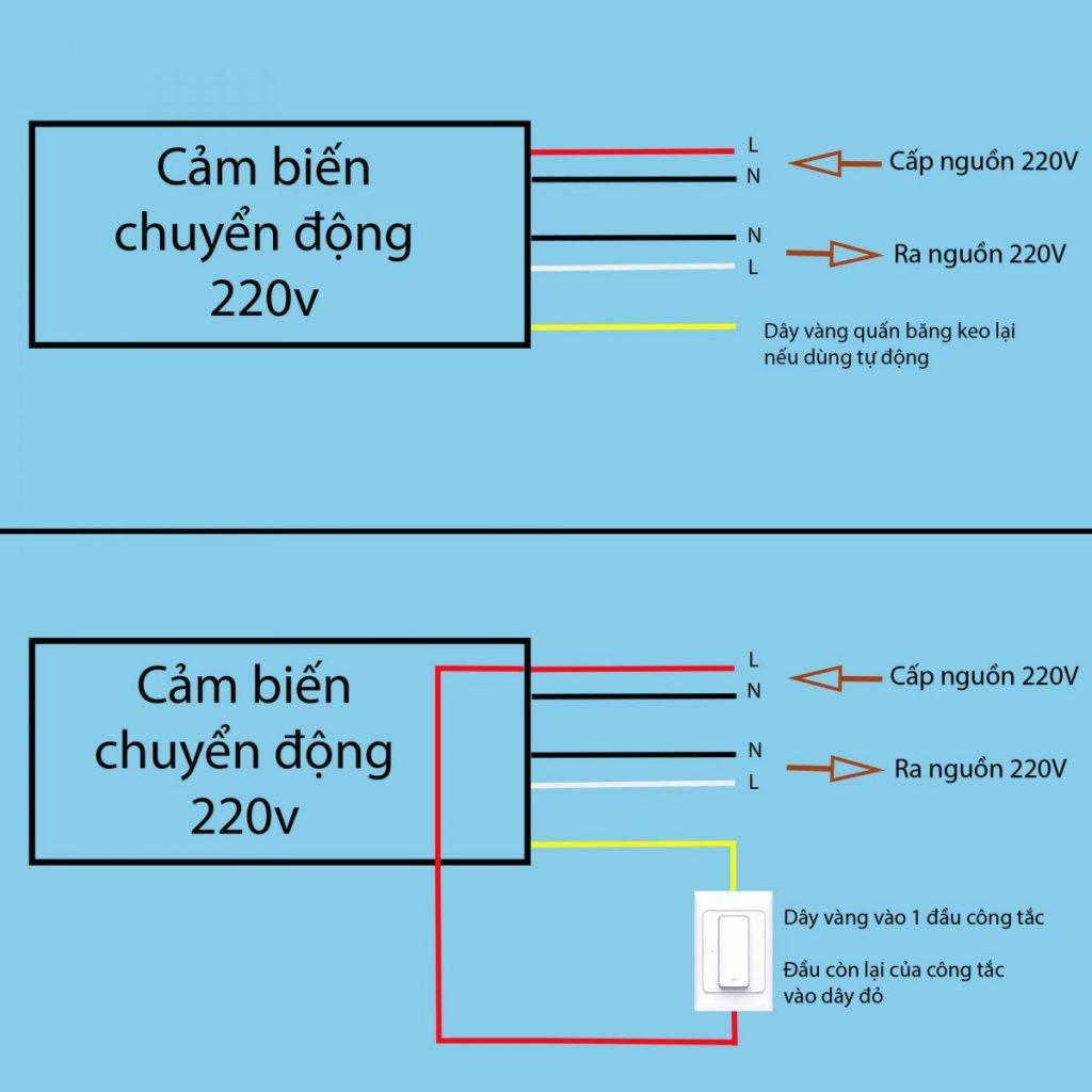 Sơ đồ kết nối Bộ cảm biến chuyển động, Ánh sáng bật tắt thiết bị 220V