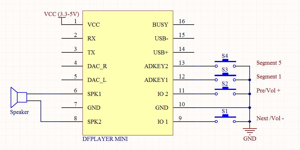 Mạch Phát Âm Thanh MP3 Kết Hợp Amply DFPlayer Mini
