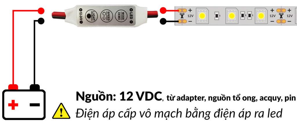 Sơ đồ kết nối Mạch điều khiển led đơn sắc 12~24VDC