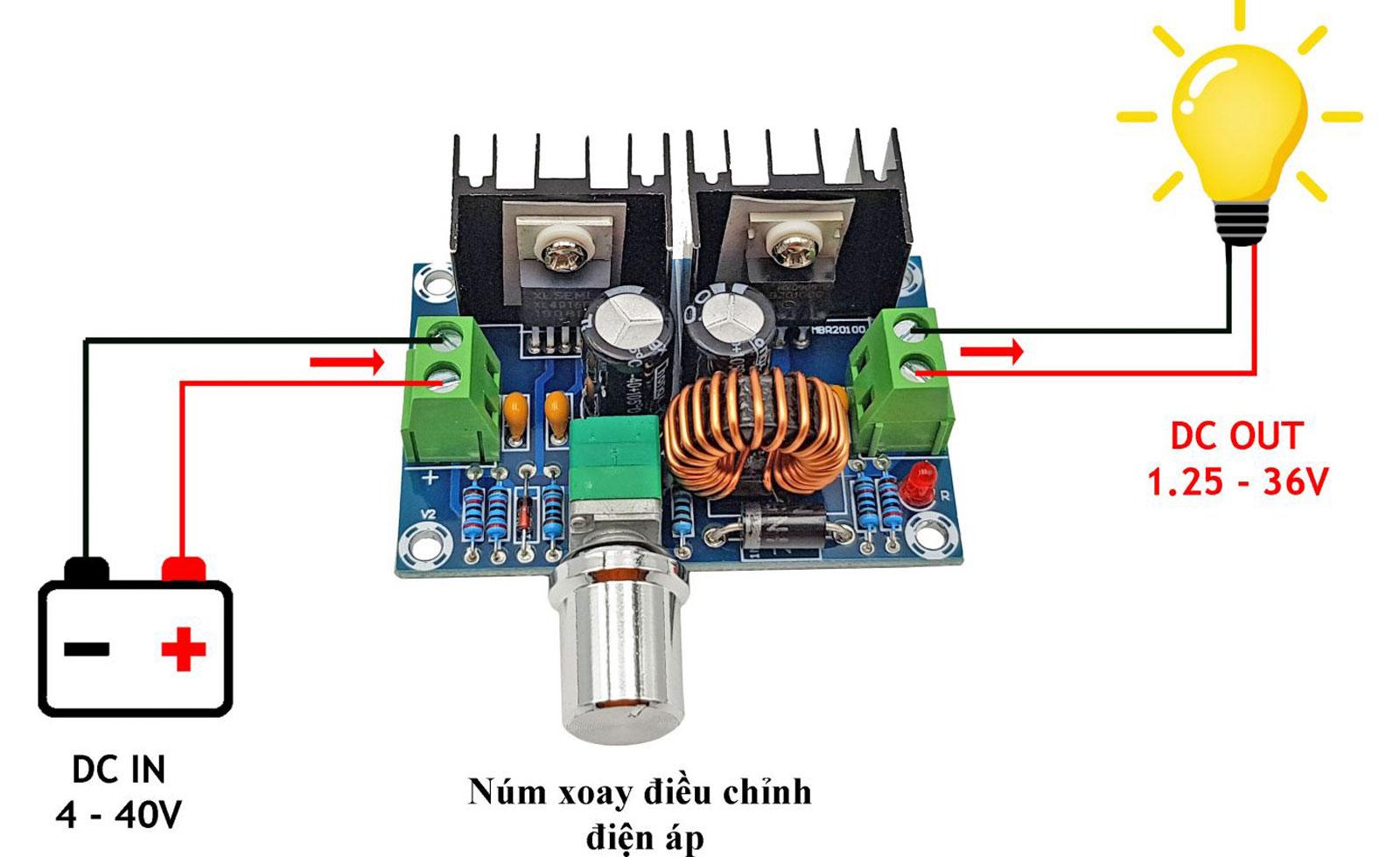 Sơ đồ kết nối Mạch Giảm Áp XL4016E1 8A
