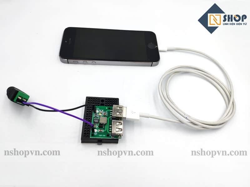 Mạch giảm áp 5V sạc điện thoại 2 cổng USB