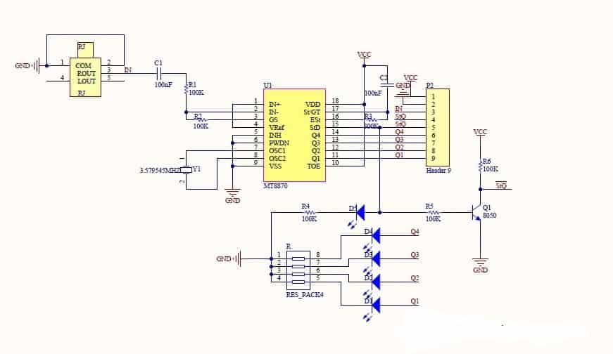 Module giải mã MT8870 DTMF telephone
