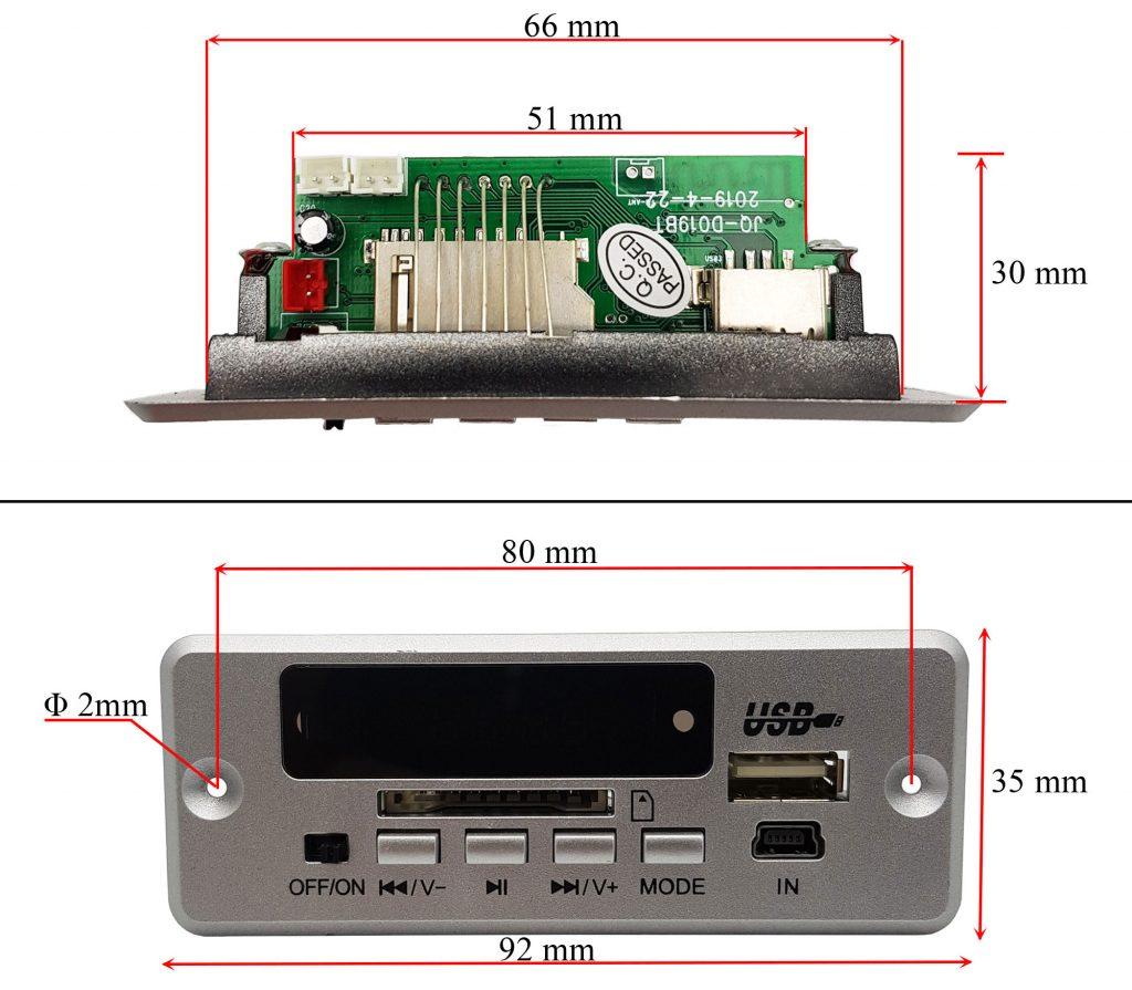 Kích thước của Mạch mp3 bluetooth FM tích hợp khuếch đại 2x3W