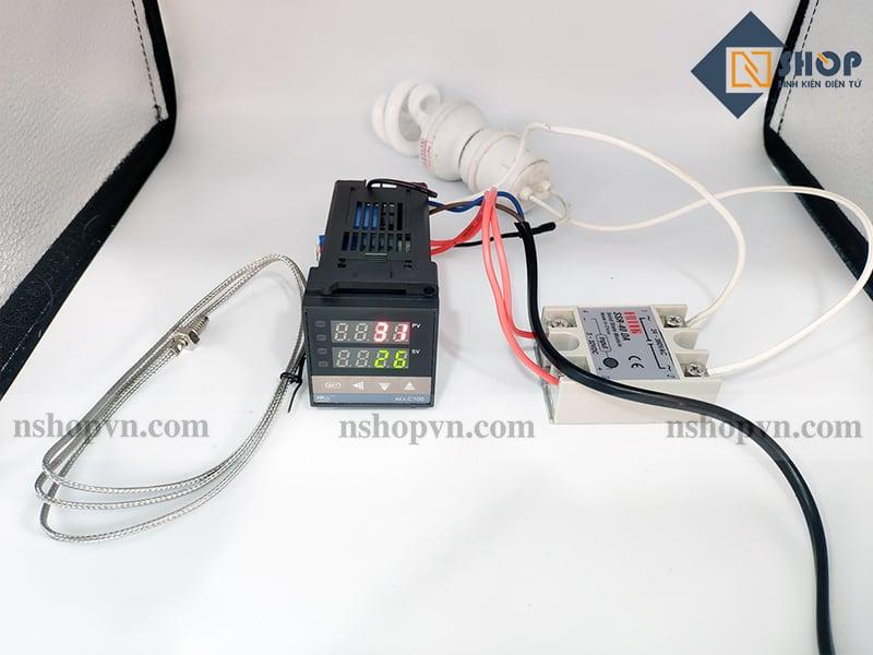 Sơ đồ kết nối của Bộ khống chế nhiệt độ 400 độ REX-C100 + SSR 40DA