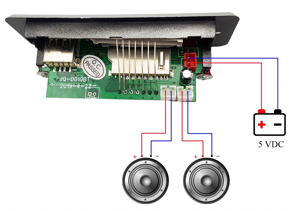 Sơ đồ đấu nối Kích thước của Mạch mp3 bluetooth FM tích hợp khuếch đại 2x3W
