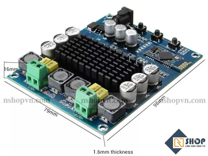 Sơ đồ kết nối cho Mạch Bluetooth Khuếch Đại Âm Thanh TDA3116D2 120W x2 model XH-M548