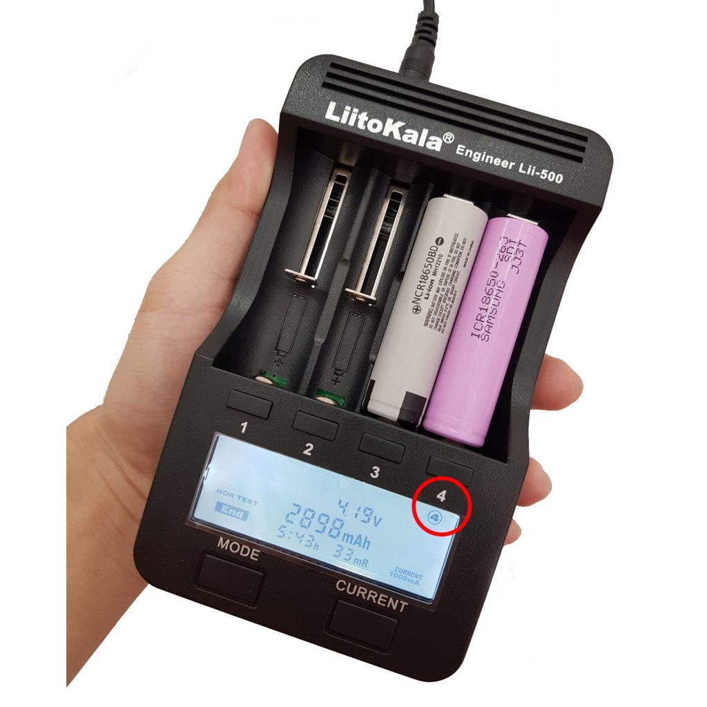 Hình ảnh dung lượng pin đo bằng Bộ sạc và kiểm tra pin LiitoKala Lii-500