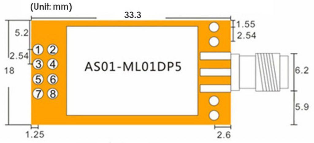 Kích thước Mạch thu phát NRF24L01 + PA + LNA 2.4Ghz 100mW