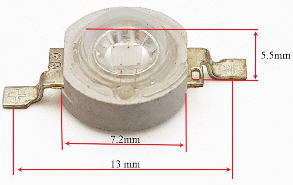 Kích thước Led UV 3W cực tím