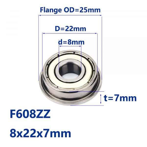 Vòng bi (bạc đạn) F608zz 8mm x 22mm x 7mm