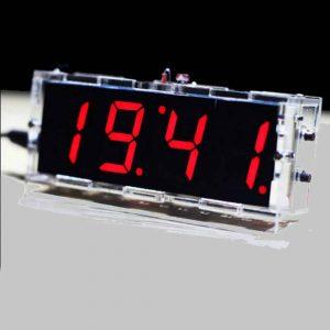Đồng hồ led 7 đoạn, báo ngày giờ, nhiệt độ + vỏ mica ( màu đỏ)