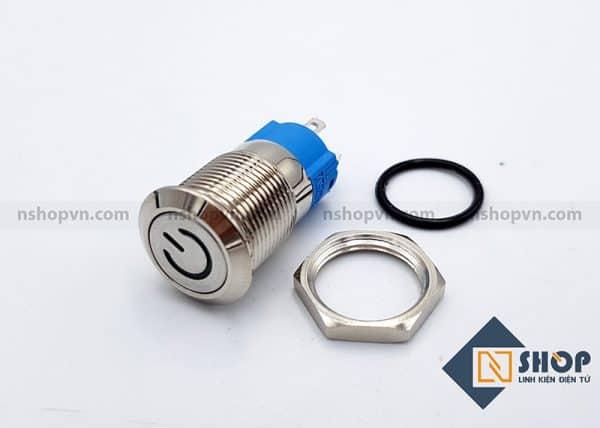Nút nguồn kim loại 12mm Trắng