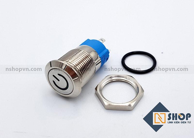 Nút nguồn kim loại 12mm Vàng