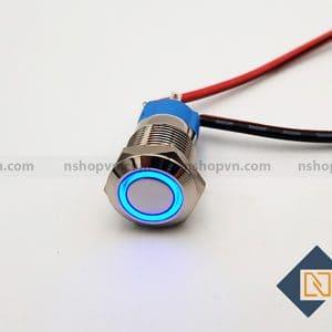 Nút nhấn kim loại 12mm Xanh Dương