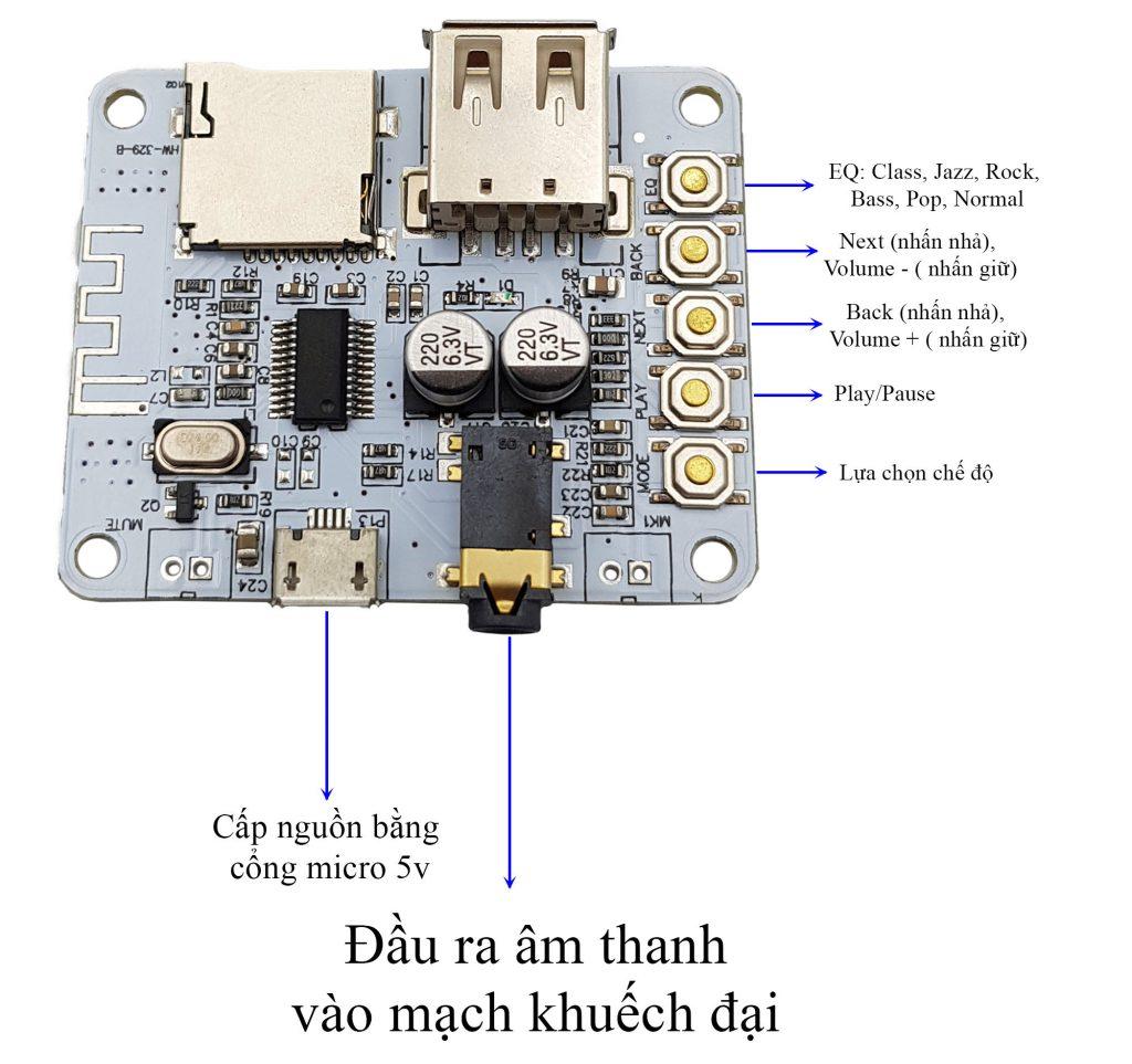 Sơ đồ đấu nối Kích thước Mạch giải mã âm thanh bluetooth tích hợp USB thẻ nhớ