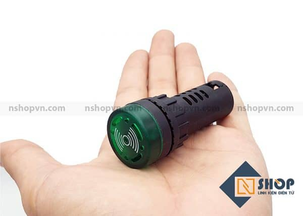 Đèn báo có còi AD16-22SM màu xanh lá 24V