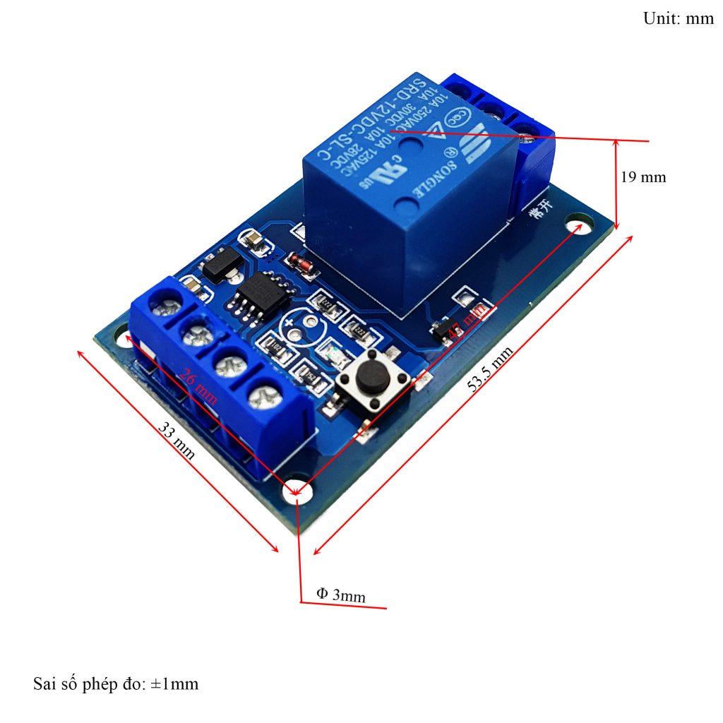 Kích thước của Module kích hoạt relay bằng nút nhấn