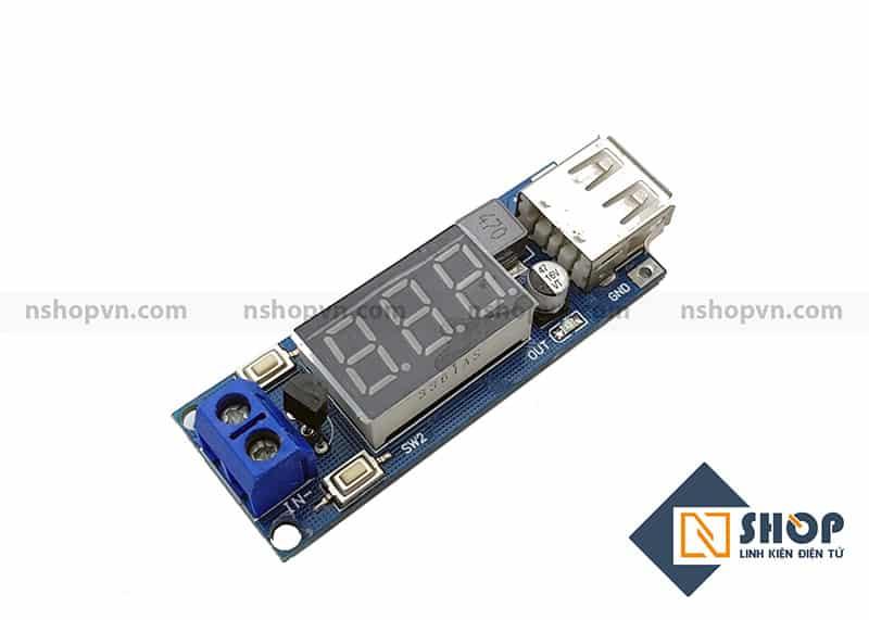 Mạch giảm áp 5V hiển thị điện áp đầu vào