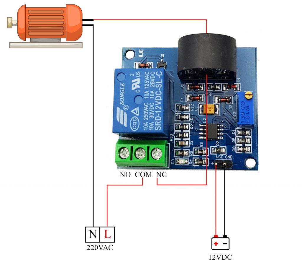 Sơ đồ đấu dây cơ bản công tắc cảm biến quá dòng AC 5A