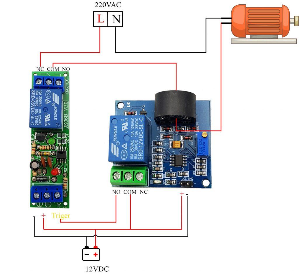 Sơ đồ đấu dây nâng cao  công tắc cảm biến quá dòng AC 5A