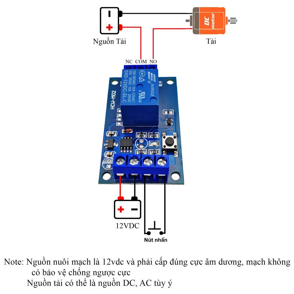 Sơ đồ đấu nối của Module kích hoạt relay bằng nút nhấn