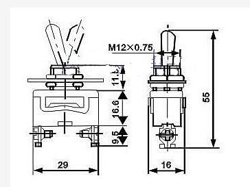 Công tắc gạt 3 chân 15A (2 trạng thái)