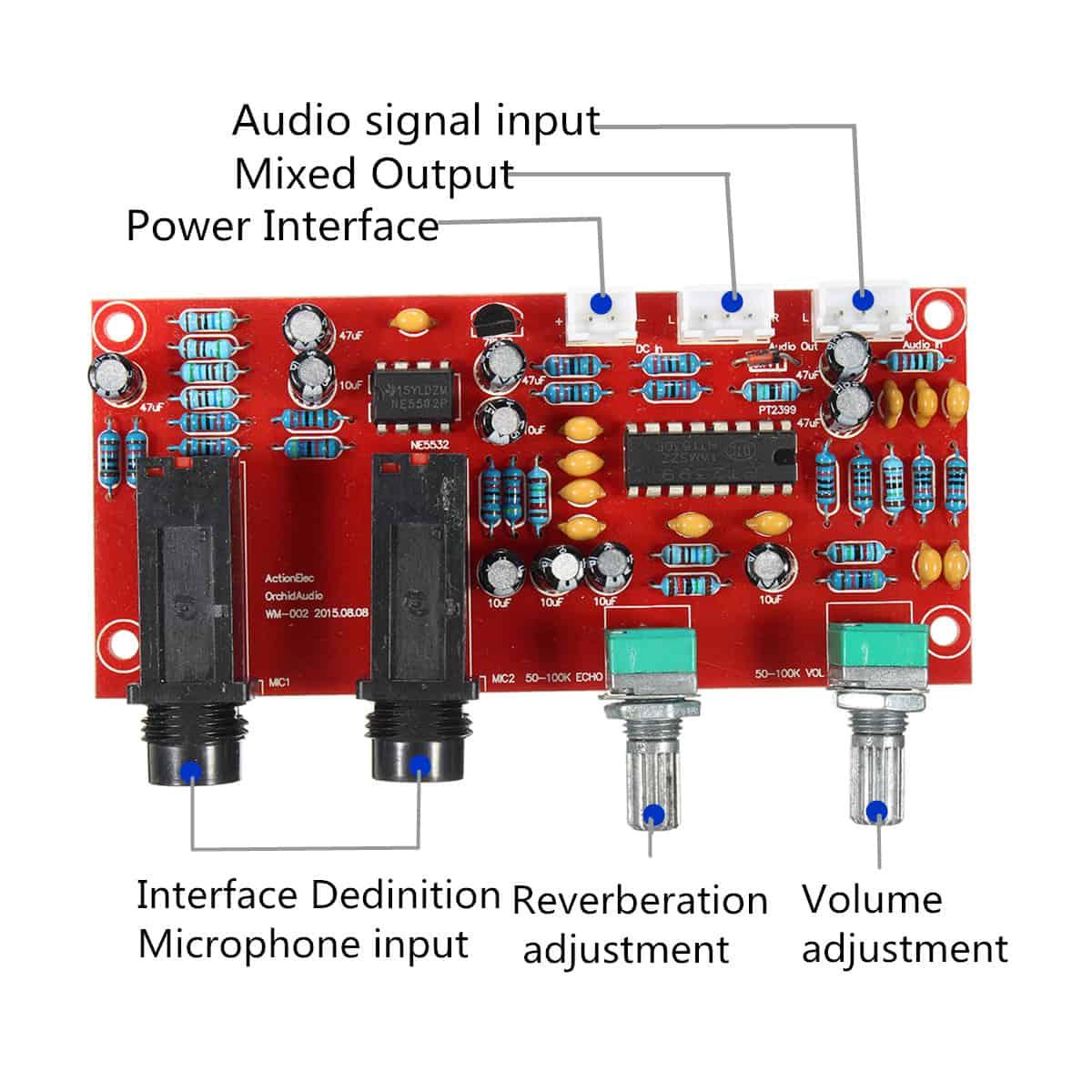 Mạch karaoke PT2399 NE5532 12-24VDC