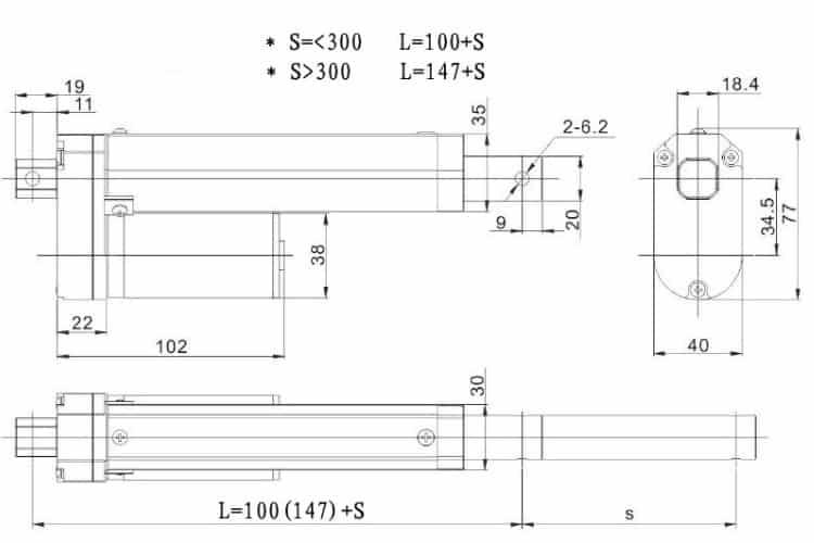 Xi Lanh Điện 12V hành trình 100mm-30mm/s