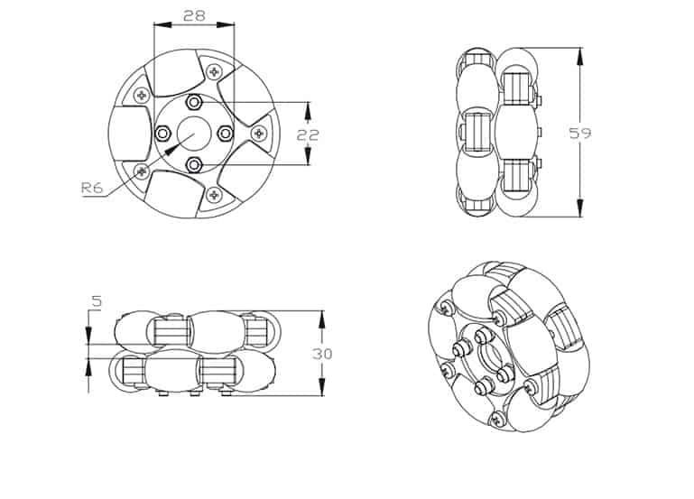 Bánh xe Omni kim loại 58mm