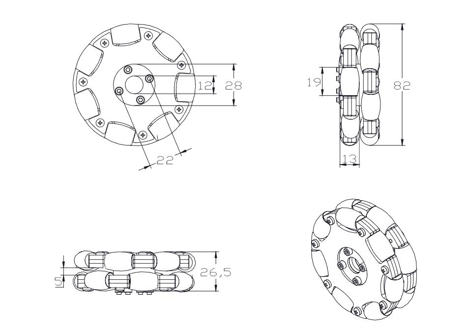 Bánh xe Omni kim loại 78mm