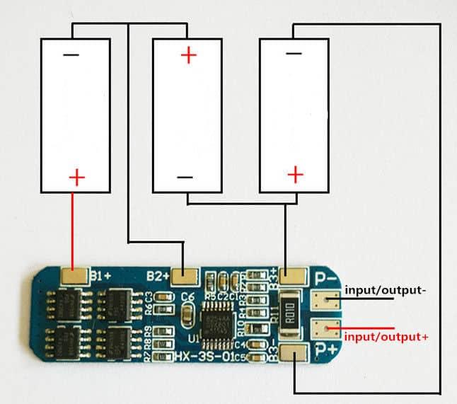 Mạch sạc xả bảo vệ pin lithium 12.6V 3 cell 6A