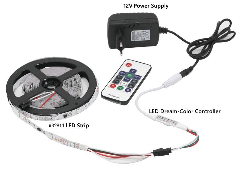 Sơ đồ kết nối Bộ điều khiển Led WS2812 từ xa Mini Dream 14 key 5-24VDC cho WS2812 WS2812B WS2811 Dải sáng DC5-24V
