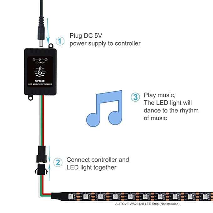 Sơ đồ kết nối Bộ điều khiển Led W2812 nháy theo nhạc SP106E 5-12VDC