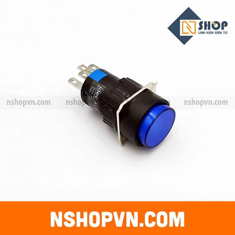 Nút nhấn có đèn AL6-M 12V màu xanh dương